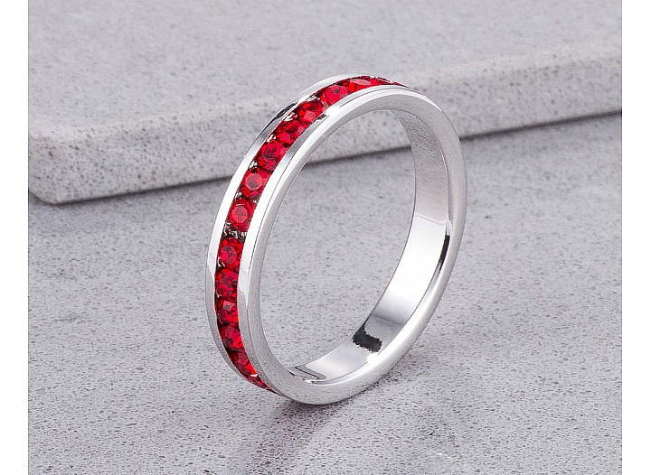 Sparkly Stackable Ruby Red Crystal Eternity Band